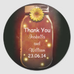 thank you red orange rustic whimsical mason jar classic round sticker