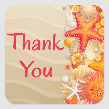 Beach Themed Thank You Red & Orange Seashell, Starfish Brown Square Sticker