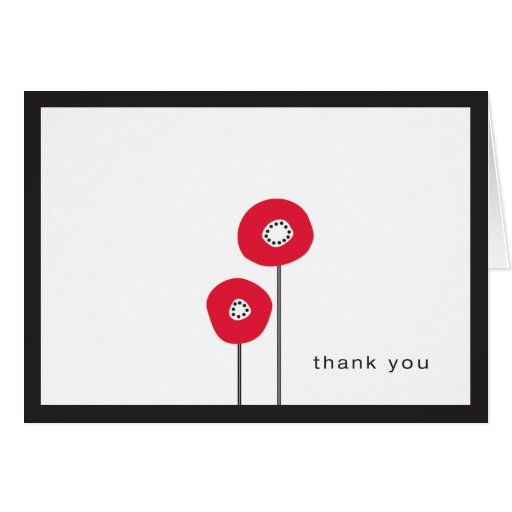Thank You - Red Poppy Card