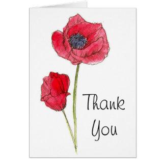 Thank You Red Poppy Flower Botanical Art Card