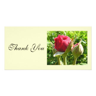 Thank You Red Rose Buds Customizable Photo Card