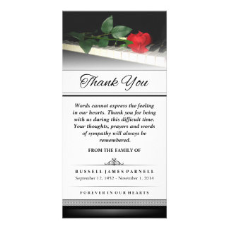 Thank You Red Rose on Piano - Words Cannot Express Photo Card