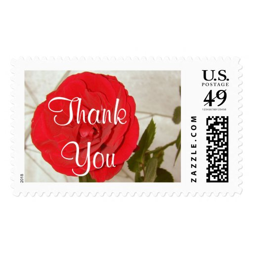 Thank You Red Rose Postage - Customizable Postage Stamp