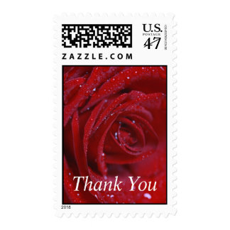 Thank You Red Rose Wedding Postage