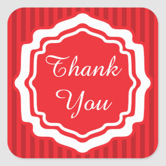 Thank You Red Stripes Square Sticker