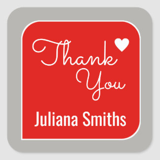 thank you / red thanks square sticker