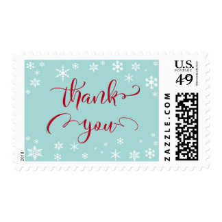 Thank You Red Typography on Robin's Egg Blue Postage