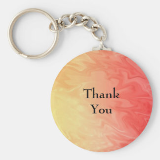 Thank You Red Yellow Texture Basic Round Button Keychain