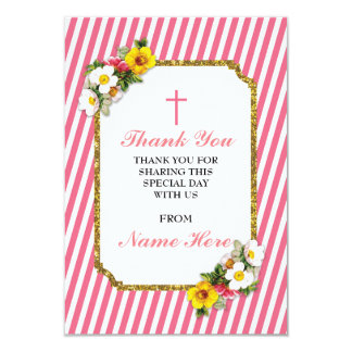 Thank You Religious Coral Stripe Floral Cards