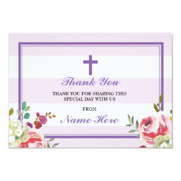 Thank You Religious Purple Stripe Floral Cards