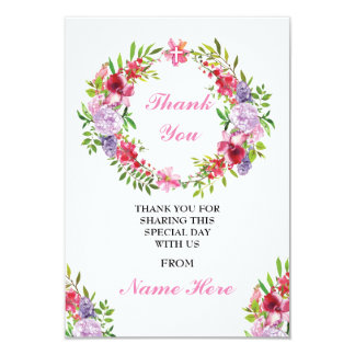Thank You Religious Wreath Cross Floral Holy Cards