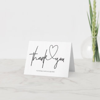Thank You Ring Bearer Black and White Wedding Card
