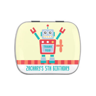 Thank You, Robot Toy, Birthday Party Favors Jelly Belly Tin
