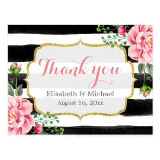 Thank You - Romantic Watercolor Floral Stripes Postcard