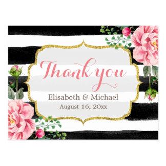 Thank You - Romantic Watercolor Floral Stripes Postcard
