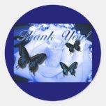 Thank You Rose & Butterflies Classic Round Sticker