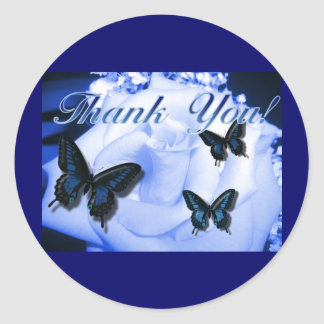 Thank You Rose & Butterflies Classic Round Sticker