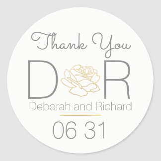 thank you . rose flower . wedding favor classic round sticker