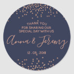 "Thank you Rose Gold and Navy Blue Confetti Sticker<br><div class=""desc"">Make your unique style stick by creating custom stickers for every occasion! From special mailings and scrapbooking to kids' activities and DIY projects,  you'll find these stickers are great for so many uses. Add your own designs,  patterns,  text,  and pictures!</div>"