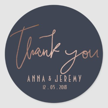 evented Thank you Rose Gold and Navy Blue Wedding Sticker