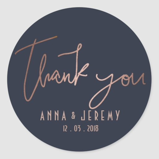 Thank you Rose Gold and Navy Blue Wedding Sticker