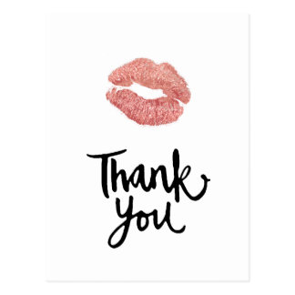 thank you rose gold lips postcard