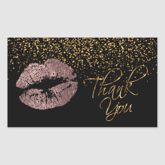 Thank You -Rose Gold Lips with Gold Confetti Rectangular Sticker