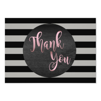 Thank You Rose Gold Wedding Black Striped Card