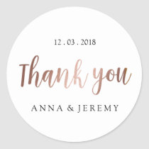 Thank you Rose Gold Wedding Sticker