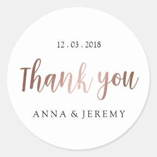 Thank you Rose Gold Wedding Sticker