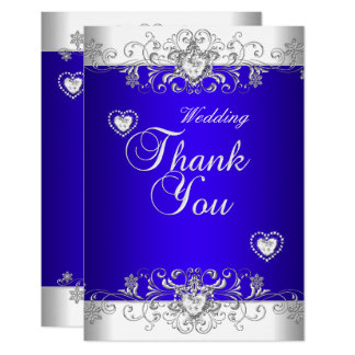 Thank You Royal blue Wedding White Diamond Hea Card