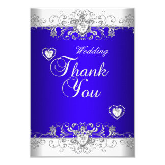 Thank You Royal Blue Wedding White Diamond Hea Card