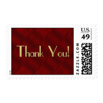 Thank You! -- Ruby Red and Black Postage