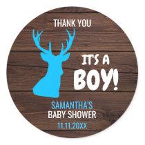 Thank You Rustic Buck Deer Boy Theme Baby Shower Classic Round Sticker