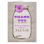 Thank You Rustic Burlap Mason Jar Purple Gerbera Card