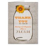 Thank You Rustic Burlap Mason Jar Sunflower Card