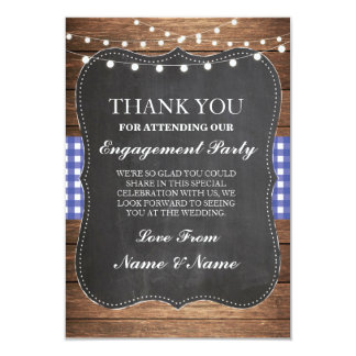 Thank You Rustic Cards Wood Blue Check Wedding BBQ