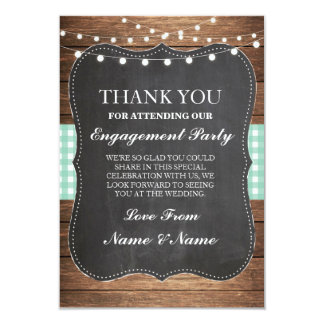 Thank You Rustic Cards Wood Mint Check Wedding BBQ