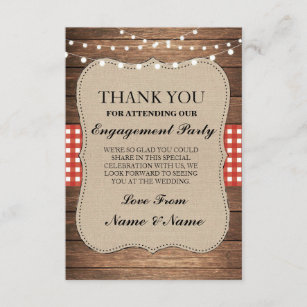 thank you rustic cards wood red burlap engagement - Engagement Thank You Cards