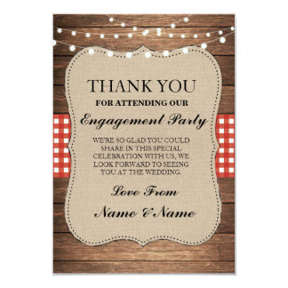 Thank You Rustic Cards Wood Red Burlap Engagement