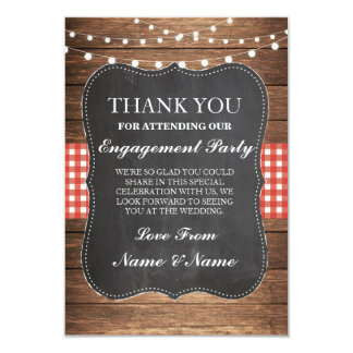 Thank You Rustic Cards Wood Red Check Wedding BBQ