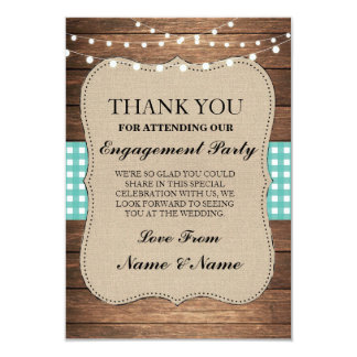 Thank You Rustic Cards Wood Teal Burlap Engagement