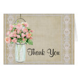 Thank You Rustic Country Mason Jar Blush Pink Rose Stationery Note Card