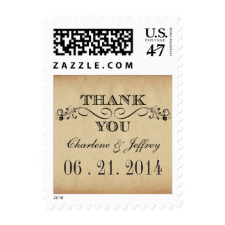 Thank You Rustic Parchment Wedding Postage