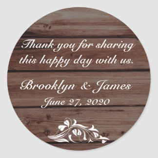 Thank You Rustic Wedding Stickers Flower Decor