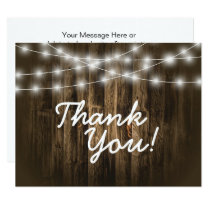 Thank You Rustic Wood String Lights Note Card
