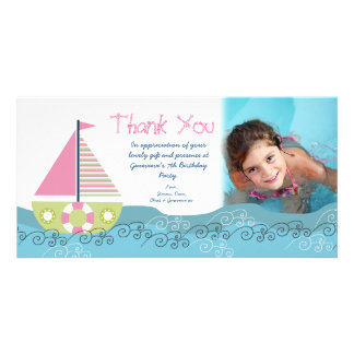 Thank You Sail Boat Birthday Party Photocard Card