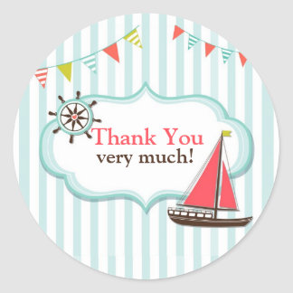 Thank You Sailing Baby Shower Stickers