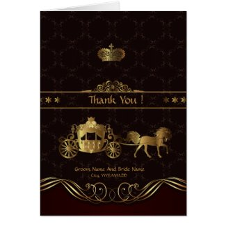 Thank You-Save The Date Golden Luxury Wedding Card
