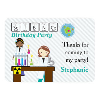 thank you science party girls card - Science Party Invitations